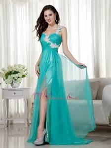 split skirt one shoulder appliqued turquoise prom wear dress