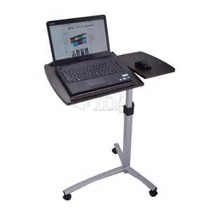 Laptop Desk Stand For Bed Angle Height Adjustable Rolling Laptop Desk Bed Hospital Table Stand Ebay