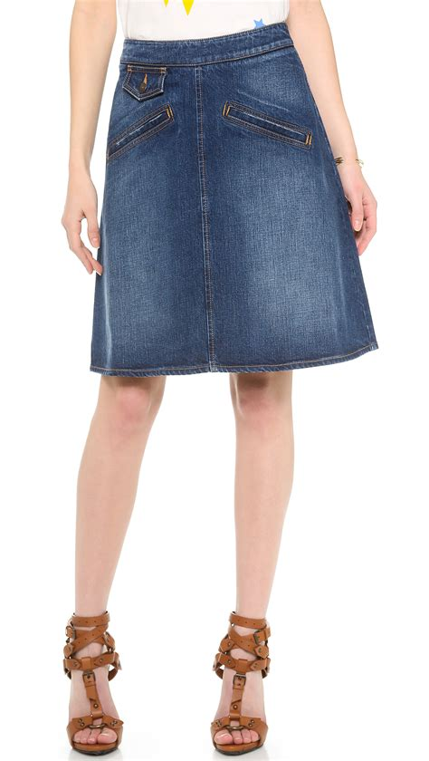 see by chlo 233 knee length denim skirt in blue denim lyst