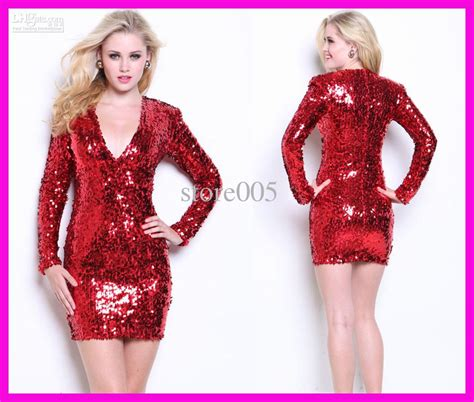 Sparkly Red Long Sleeves Sequins Mini Sheath Party Dress