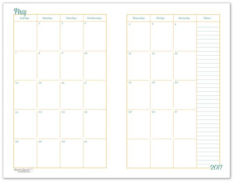 size monthly calendar printables