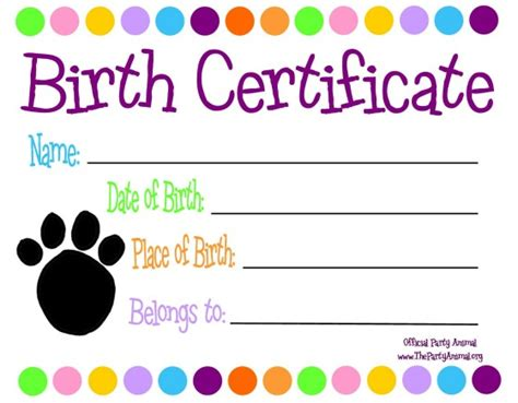 puppy birth certificate template free pet themed custom birth certificate to go