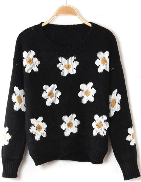 flower pattern cardigan black long sleeve sunflower pattern knit sweater