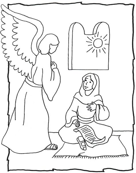 Coloring Page Of Angel Visiting Mary | through my quot i quot s stations of the crib