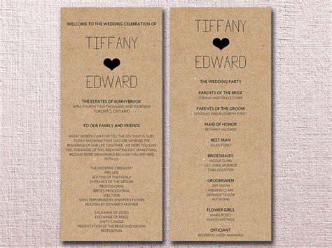 kraft wedding program template download from