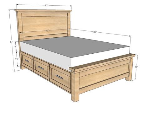 size bed frame free plans to build a platform bed with drawers