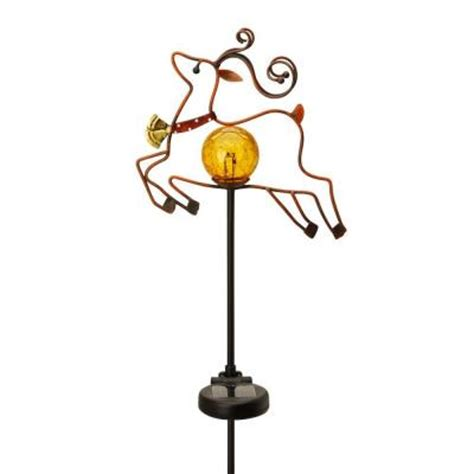 moonrays outdoor color changing solar led metal reindeer