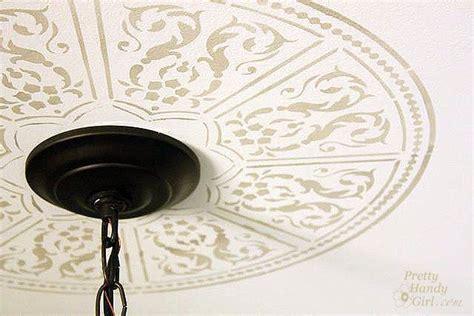 ceiling medallion stencils create a faux ceiling medallion craft ideas