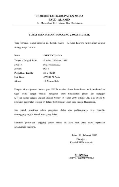 format surat pernyataan tanggung jawab surat pernyataan tanggung jawab mutlak tk al amin