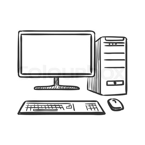 Drawing Computer by Draw Doodle Computer Excellent Vector Illustration