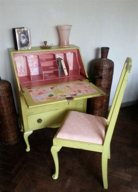 Shabby Chic Computer Desk Vintage Shabby Chic Painted Writing Bureau Laptop Desk Free Chair Shabby Chic The