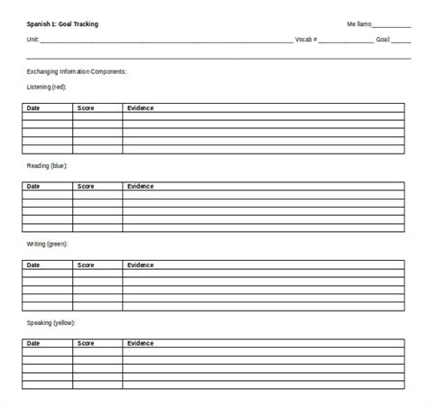 goal tracking template 11 ms word tracking templates free free