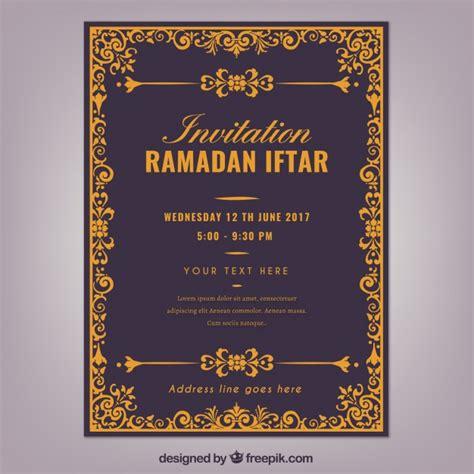 ramadan invitation card template invitation of ramadan iftar vector free
