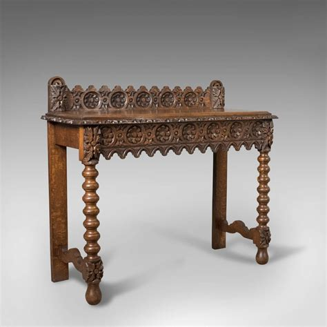 antique console table c19th scottish carved oak luxify