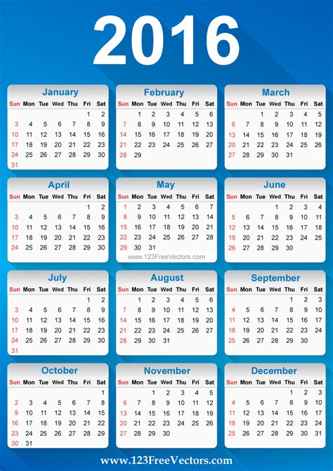 printable calendar vector free vector 2016 calendar download free vector art