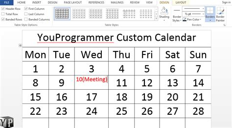 how to make a calendar in word how to make a calendar in word document youprogrammer