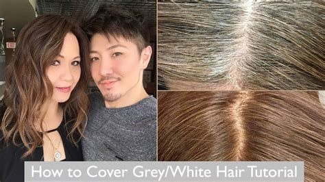 best hair color for gray coverage how to cover grey white hair tutorial