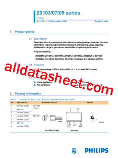 z0103 transistor datasheet z0103 데이터시트 pdf nxp semiconductors