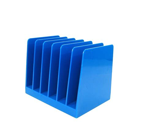 Plastic Desk Organizer Vintage File Holder Blue Plastic Desk Organizer