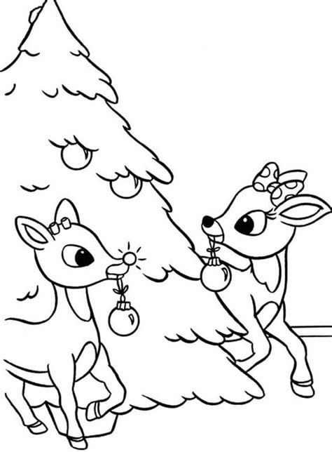 rudolph  clarice decorated christmas tree coloring page