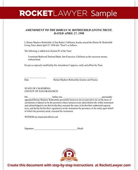 Living Trust Amendment Form Rocket Lawyer Living Trust Template California