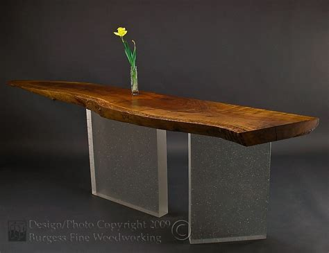 hand crafted claro walnut sofa table  glass legs