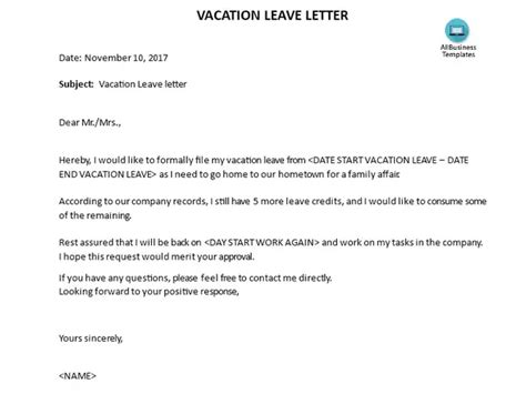 examples vacation leave letter quora