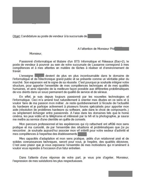 Exemple De Lettre De Motivation Candidature Spontanée Vendeuse Cover Letter Exle Exemple De Lettre De Motivation Spontan 233 E Vente