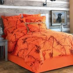 realtree blaze comforter set queen 4 piece orange camo