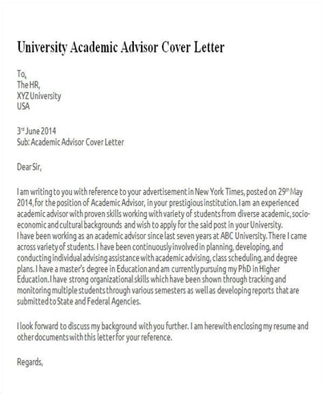 College Advisor Cover Letter by 6 Sle Academic Advisor Cover Letter Free Sle Exle Format