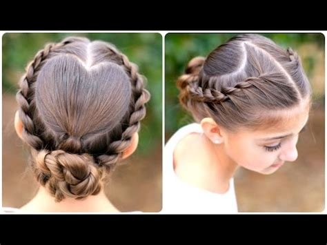 cute girl hairstyles buns youtube rope twisted heart cute girls hairstyles youtube