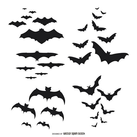 Bat Outline Vector by Bats Silhouettes Flying Set Vector