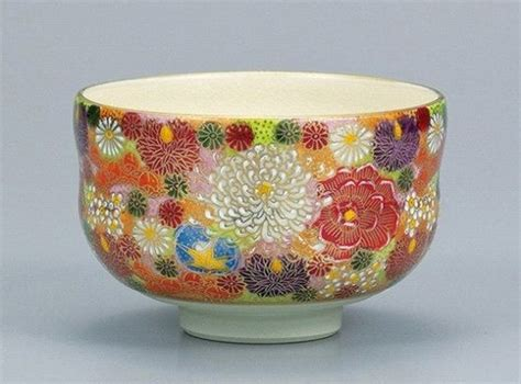 japanese pattern bowl japanese tea bowl kutani ware hanazume for green tea