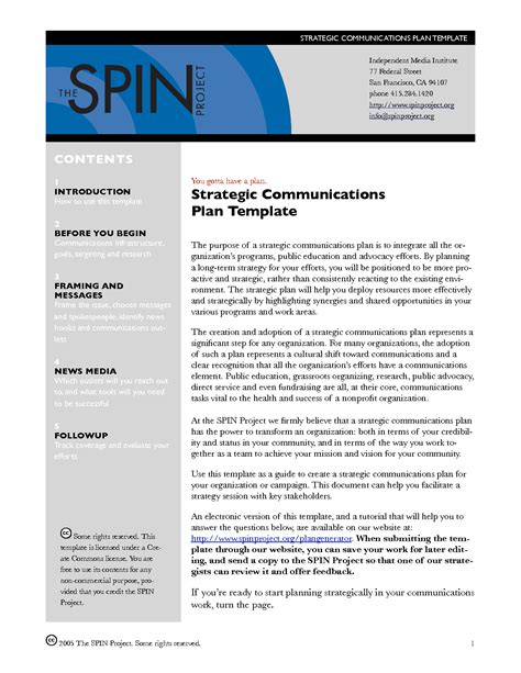 strategic communications plan template strategic communication plan template images