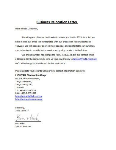 relocation letter templates google docs word