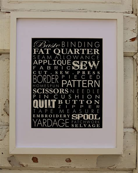 sewing room wall decor sewing words subway