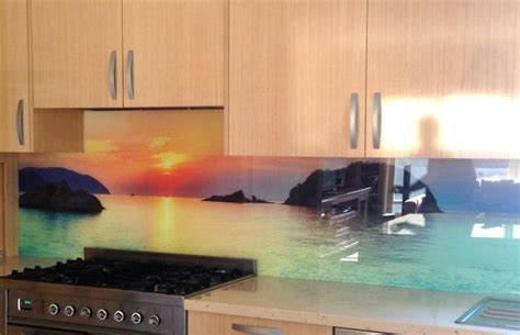 digital kitchen backsplash beach and water scenes are a popular choice for digitally