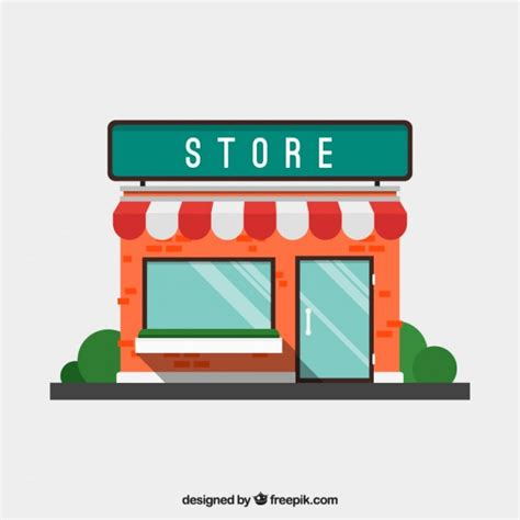 Flat store facade with awning Vector   Free Download