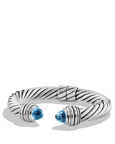 David yurman Cable Classics Bracelet With Blue Topaz in Metallic   Lyst