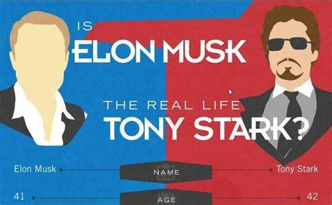 elon musk vs tony stark ceo comparison infographics real life tony stark