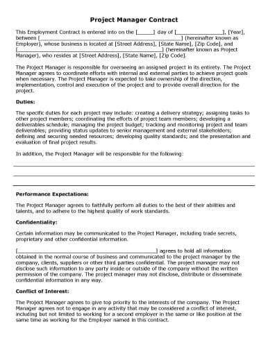 project manager contract template 32 sle contract templates in microsoft word