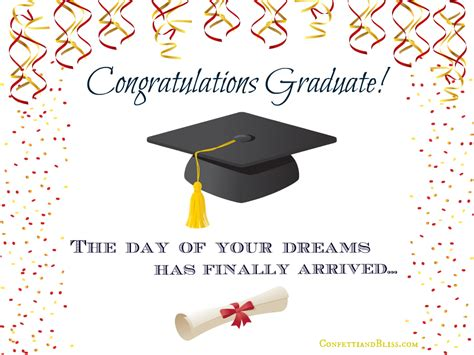 graduation congratulations card templates graduation card wording confetti bliss