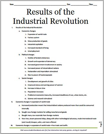 results of the industrial revolution outline student