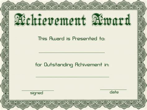 template for certificate of award certificate templates green award certificate powerpoint