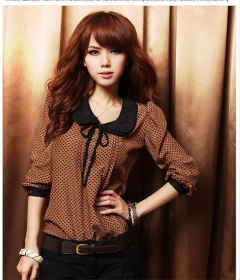 Blouse Coklat Limited blouse import lengan panjang model terbaru jual murah