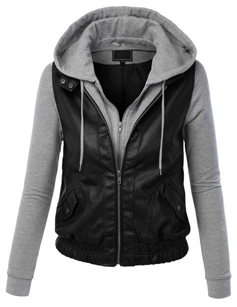 female motorcycle jackets womens faux leather zip up moto biker jacket with hoodie