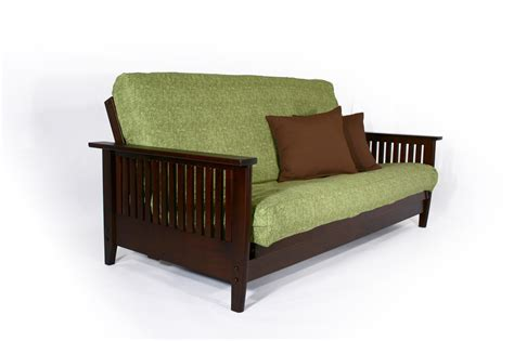 futon furniture store cherry wall hugging futon sofabed denali wooden