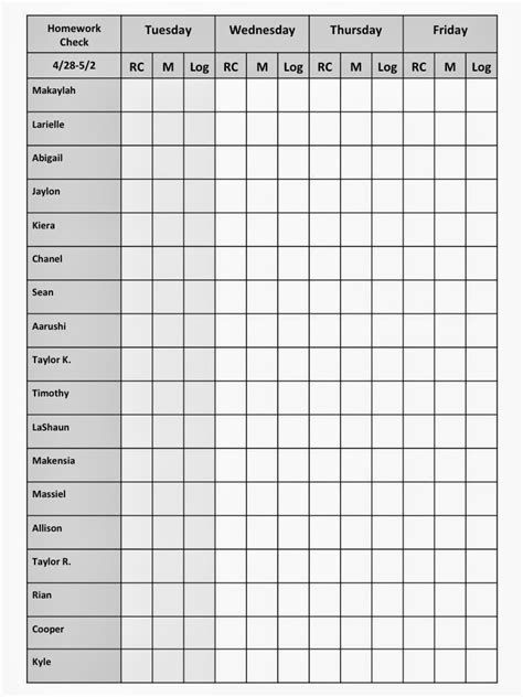 homework template for teachers homework checklists