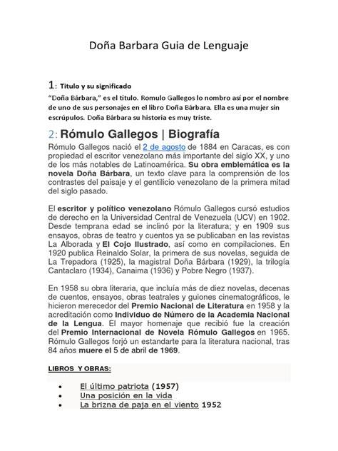 Doña Barbara Guia de Lenguaje | Trabajos | Novelas