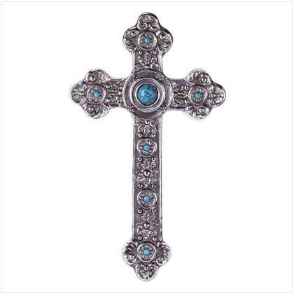 style wall cross silver turquoise home decor new